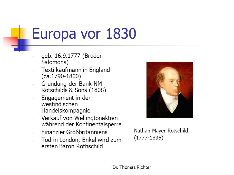 Europa vor 1830 geb. 16.9.1777 (Bruder Salomons)