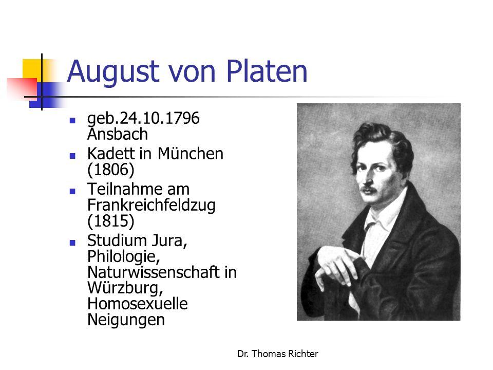 August von Platen geb.24.10.1796 Ansbach Kadett in München (1806)