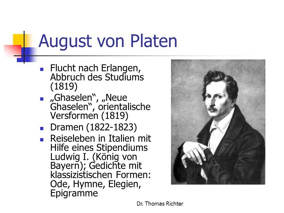 August von Platen Flucht nach Erlangen, Abbruch des Studiums (1819)