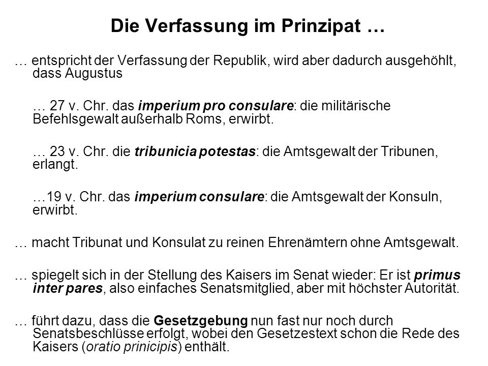 Die Verfassung im Prinzipat …