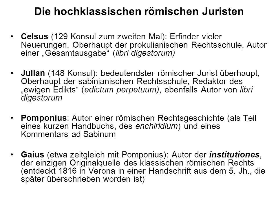 Die hochklassischen römischen Juristen