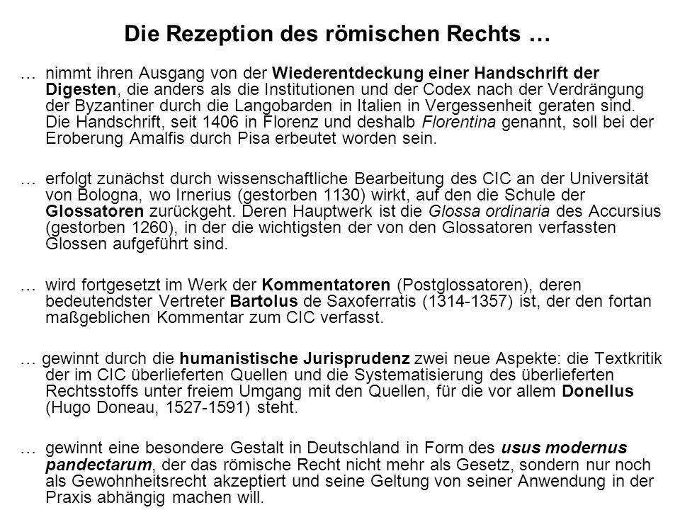 Die Rezeption des römischen Rechts …