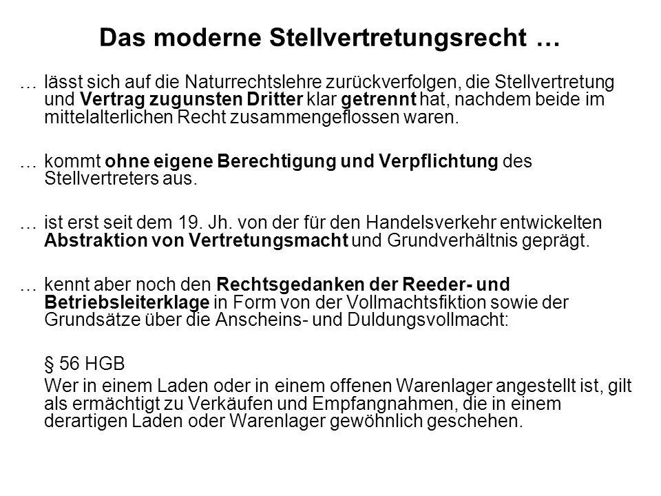 Das moderne Stellvertretungsrecht …