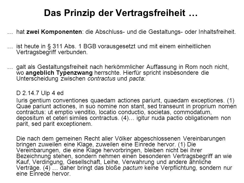 Das Prinzip der Vertragsfreiheit …