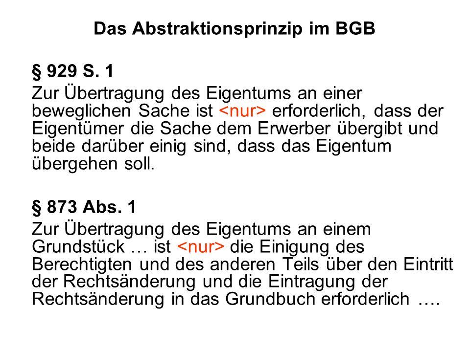 Das Abstraktionsprinzip im BGB