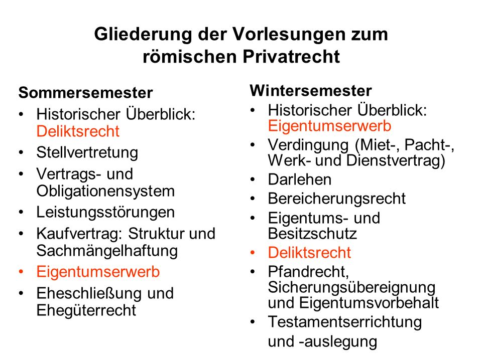 Gliederung der Vorlesungen zum römischen Privatrecht