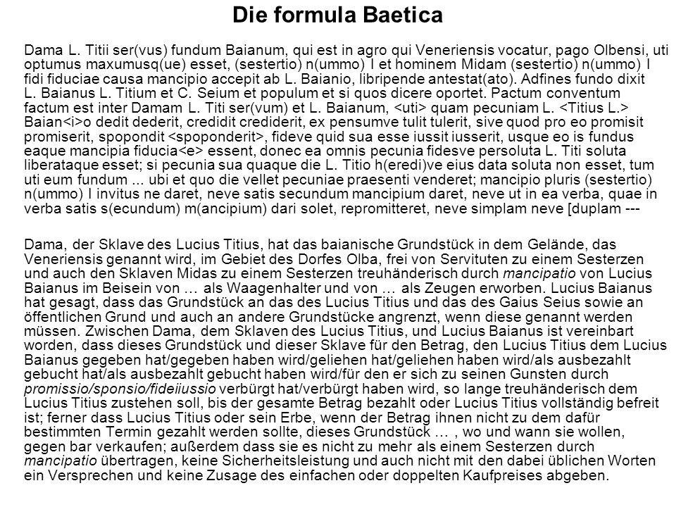 Die formula Baetica