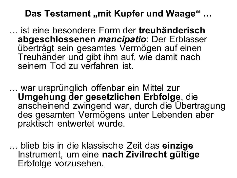 """Das Testament """"mit Kupfer und Waage …"""