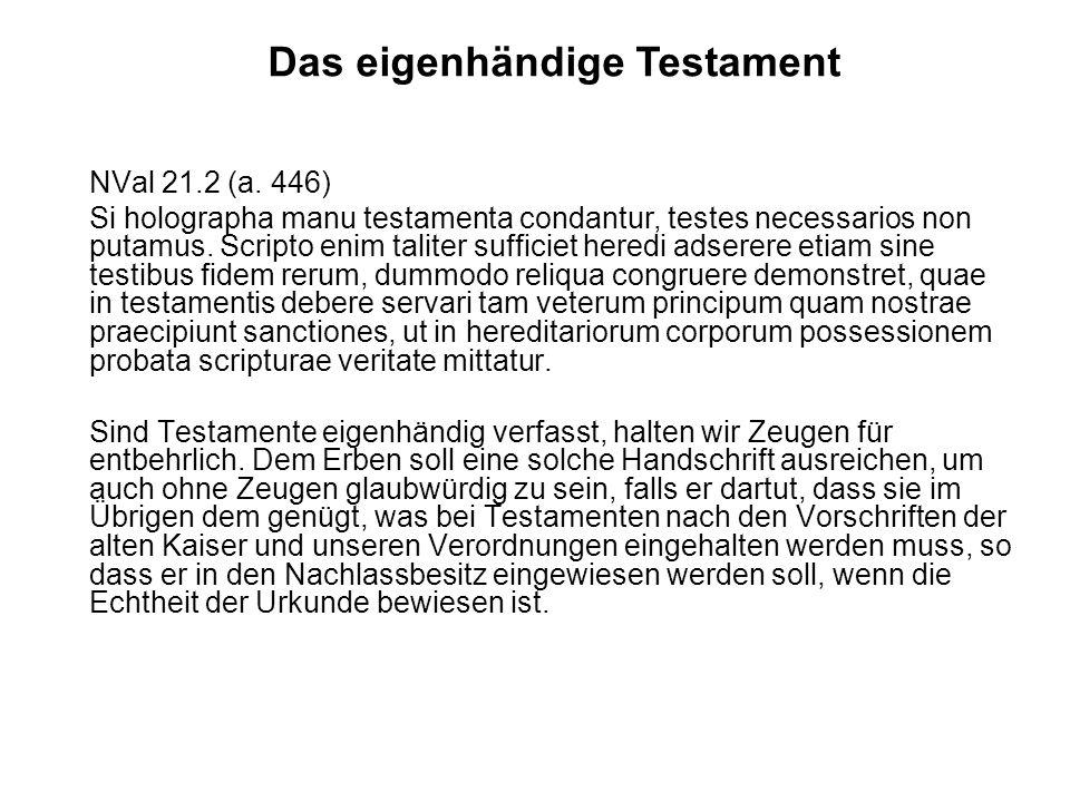 Das eigenhändige Testament