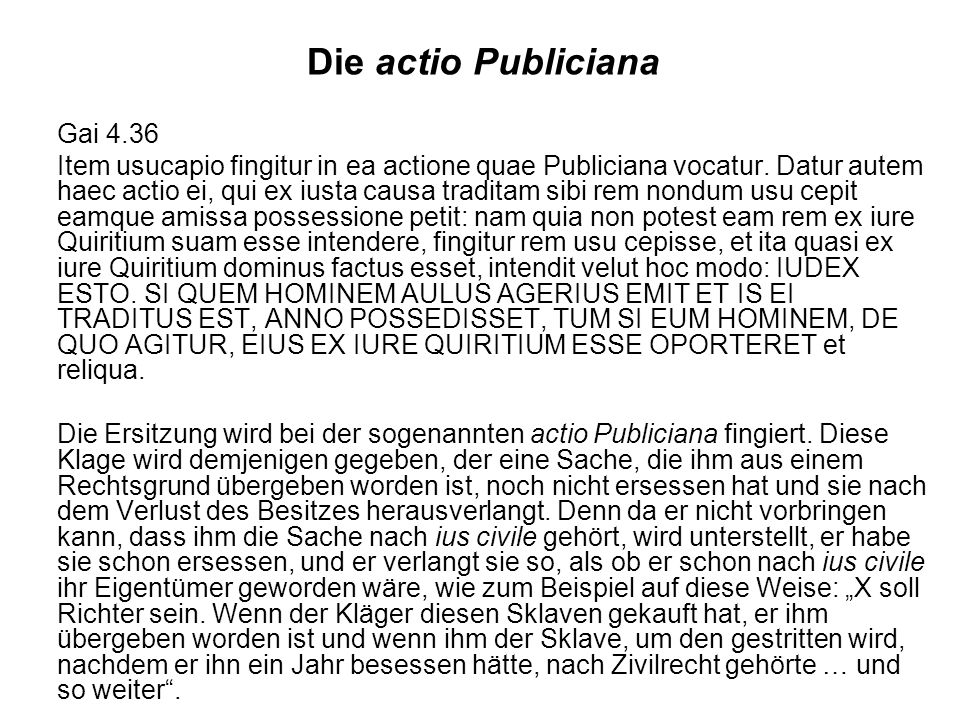 Die actio Publiciana Gai 4.36