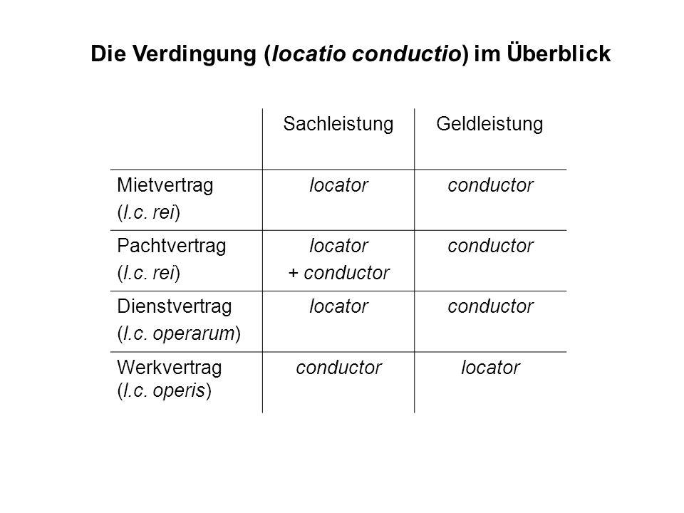 Die Verdingung (locatio conductio) im Überblick
