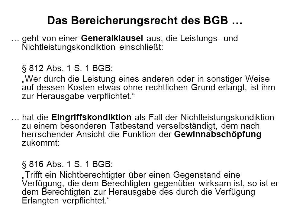 Das Bereicherungsrecht des BGB …