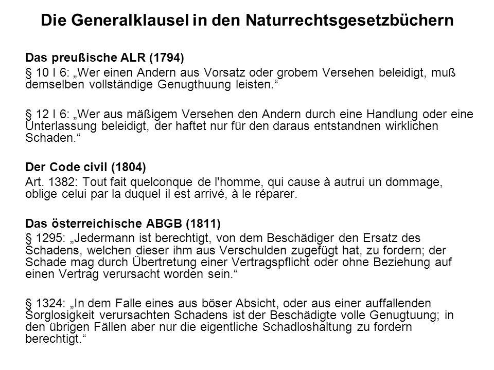 Die Generalklausel in den Naturrechtsgesetzbüchern