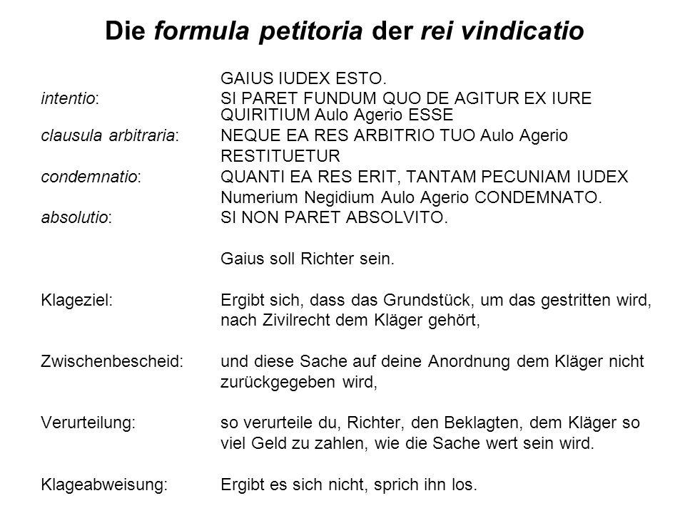 Die formula petitoria der rei vindicatio
