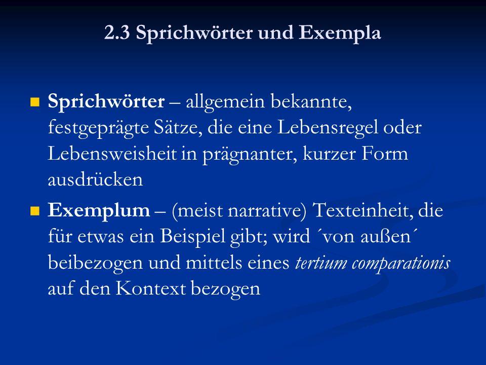2.3 Sprichwörter und Exempla