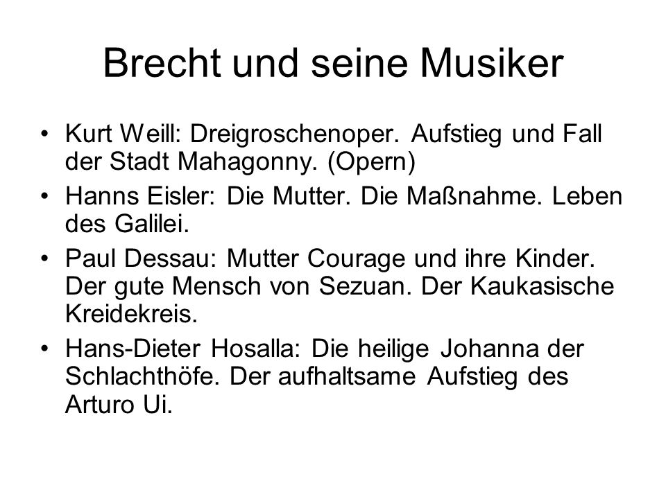 Brecht und seine Musiker