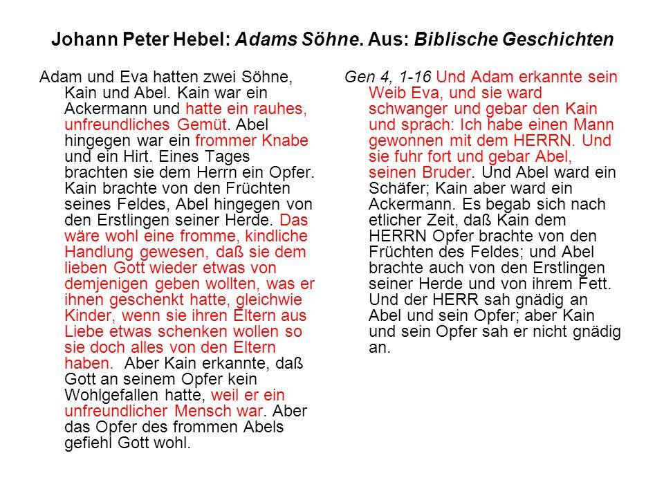 Johann Peter Hebel: Adams Söhne. Aus: Biblische Geschichten