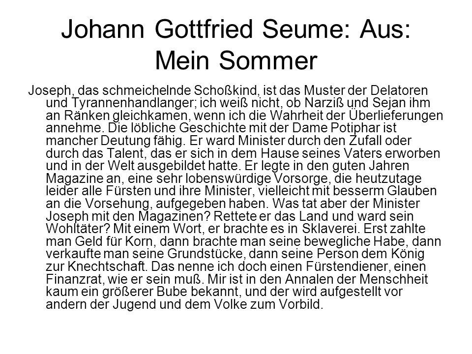 Johann Gottfried Seume: Aus: Mein Sommer