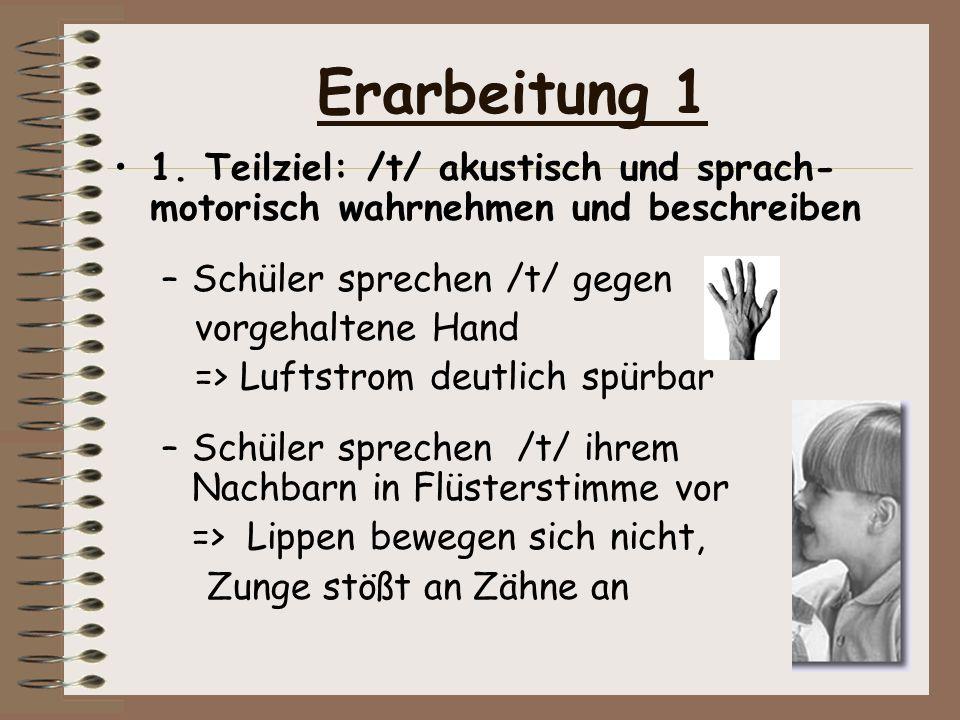 Erarbeitung 11. Teilziel: /t/ akustisch und sprach-motorisch wahrnehmen und beschreiben. Schüler sprechen /t/ gegen.