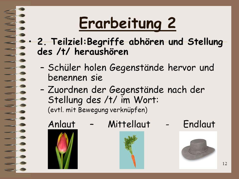 Erarbeitung 22. Teilziel:Begriffe abhören und Stellung des /t/ heraushören. Schüler holen Gegenstände hervor und benennen sie.