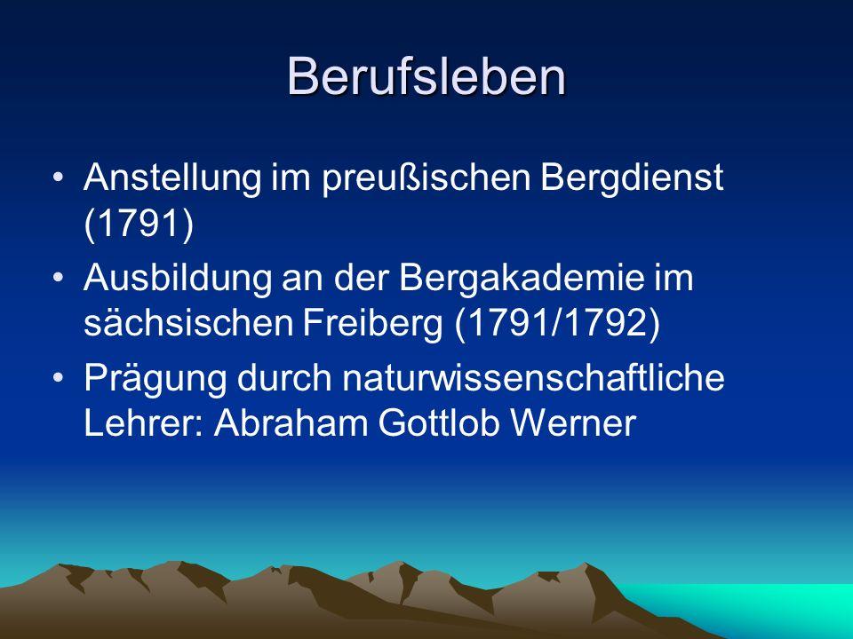 Berufsleben Anstellung im preußischen Bergdienst (1791)