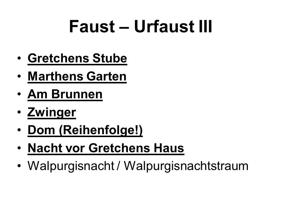 Faust – Urfaust III Gretchens Stube Marthens Garten Am Brunnen Zwinger
