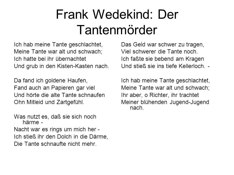 Frank Wedekind: Der Tantenmörder