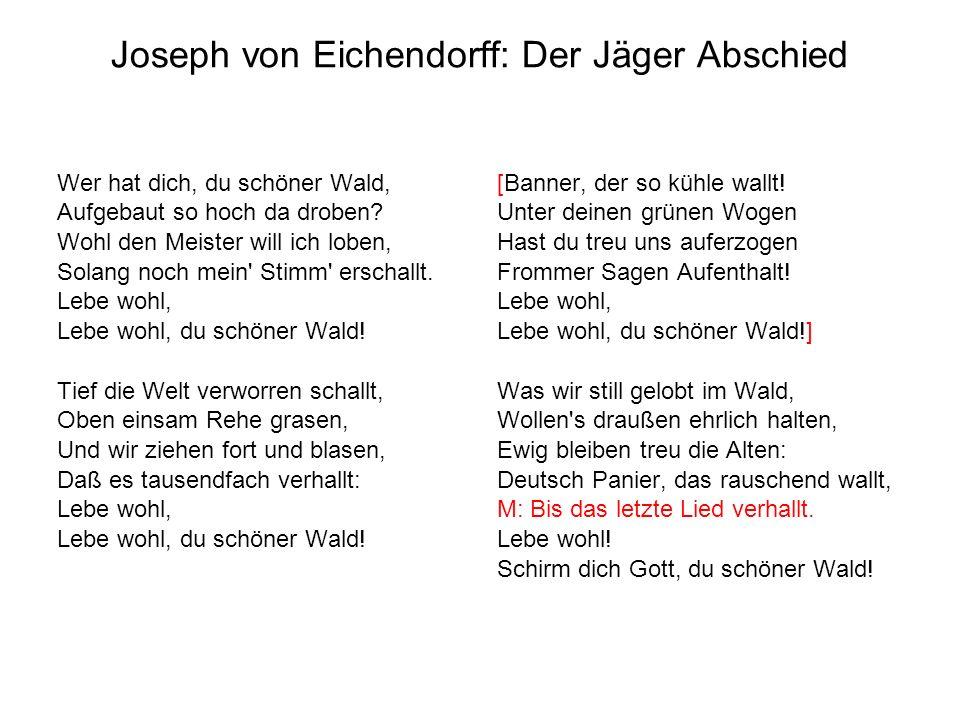 Joseph von Eichendorff: Der Jäger Abschied