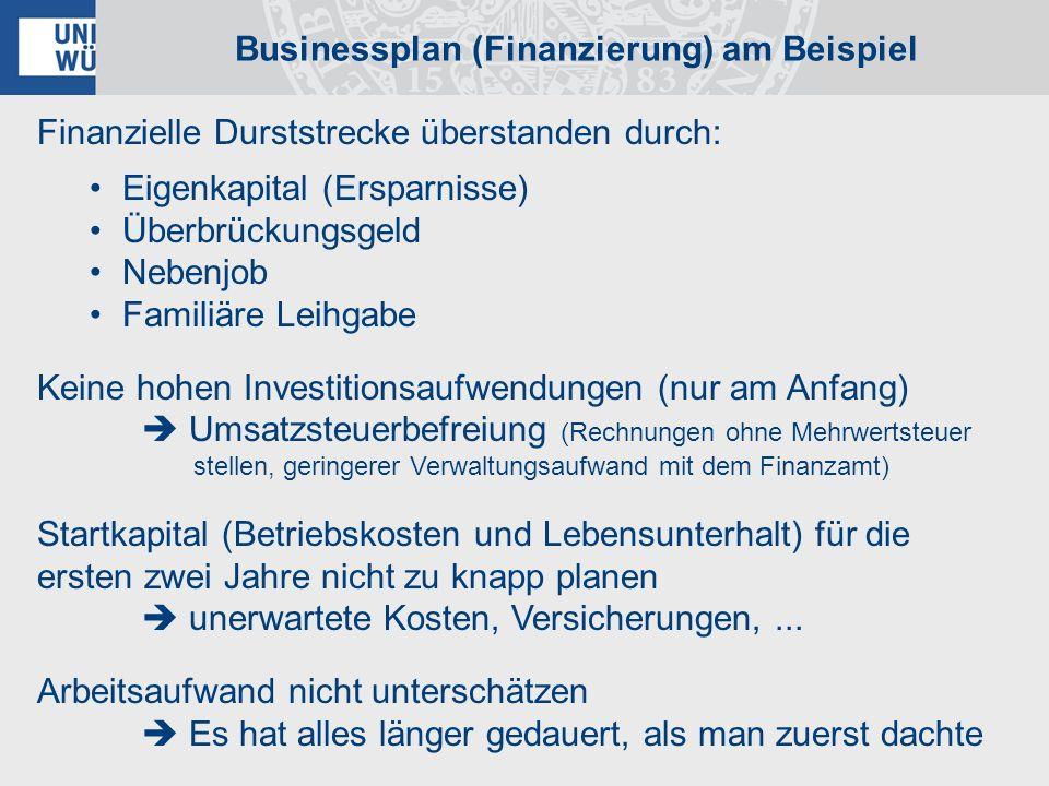 Businessplan (Finanzierung) am Beispiel