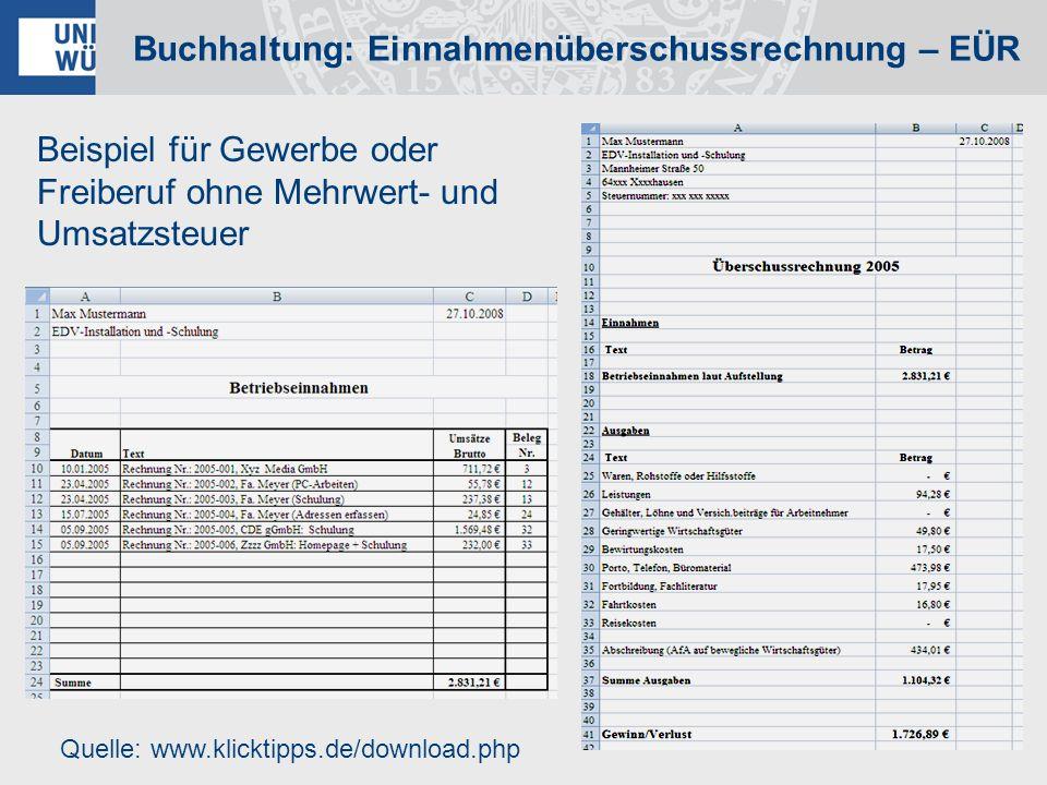 Buchhaltung: Einnahmenüberschussrechnung – EÜR