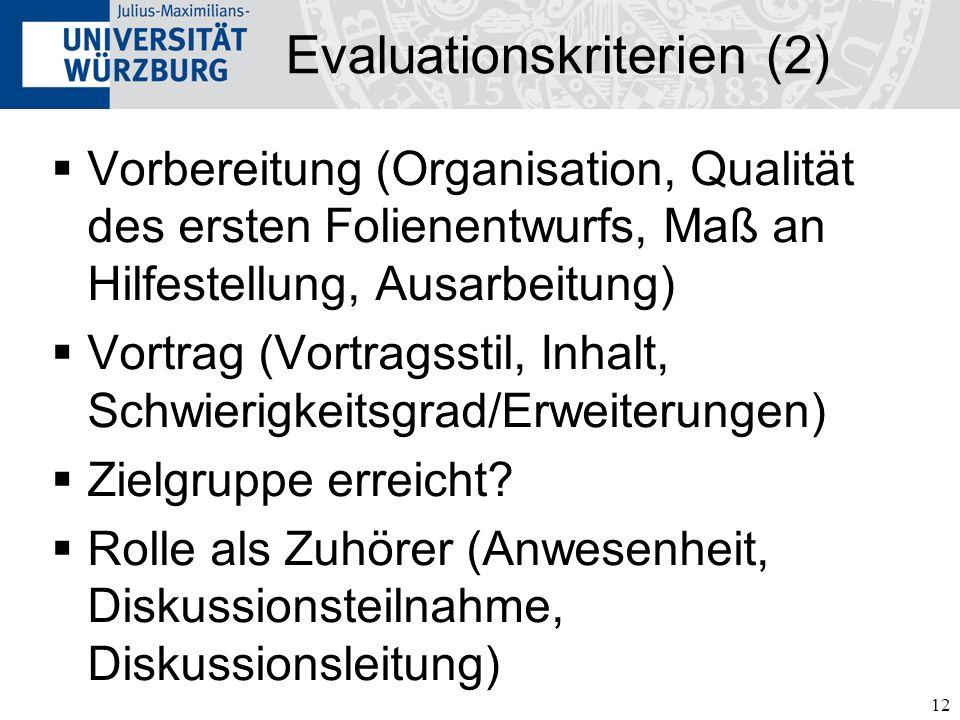 Evaluationskriterien (2)