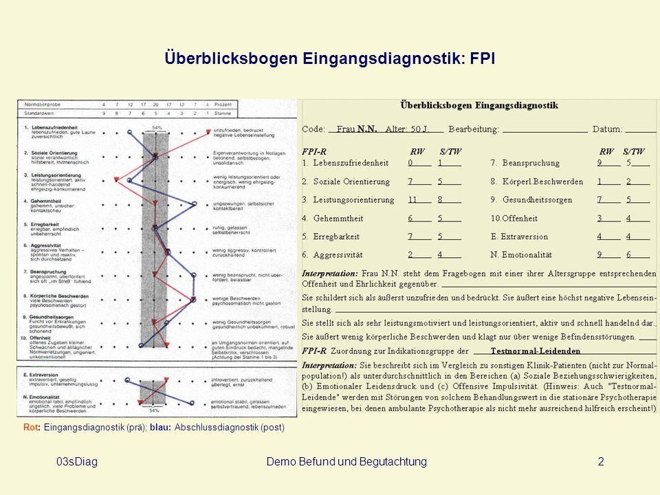 Überblicksbogen Eingangsdiagnostik: FPI