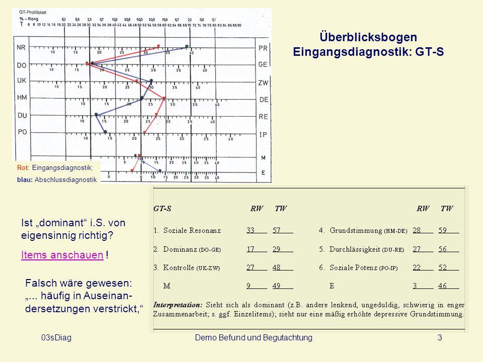 Überblicksbogen Eingangsdiagnostik: GT-S