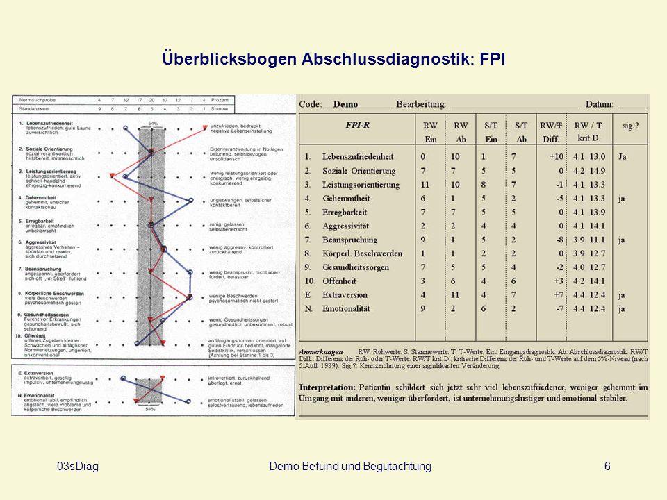 Überblicksbogen Abschlussdiagnostik: FPI