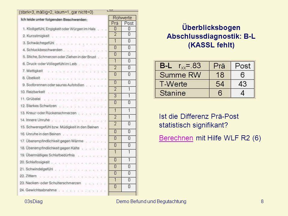 Überblicksbogen Abschlussdiagnostik: B-L (KASSL fehlt)