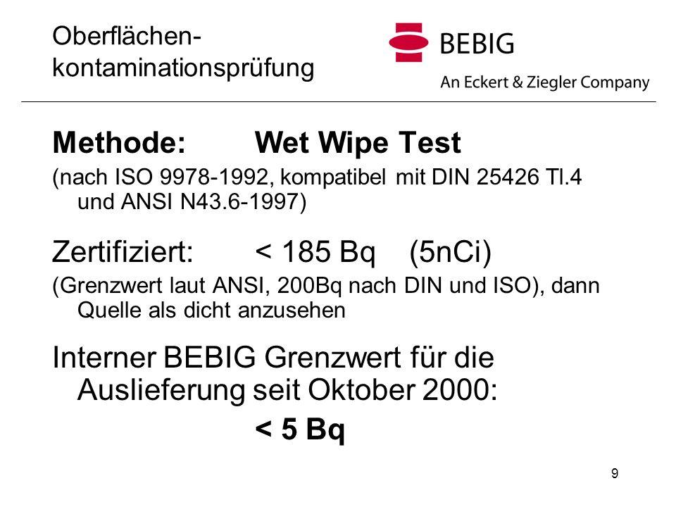 Oberflächen- kontaminationsprüfung