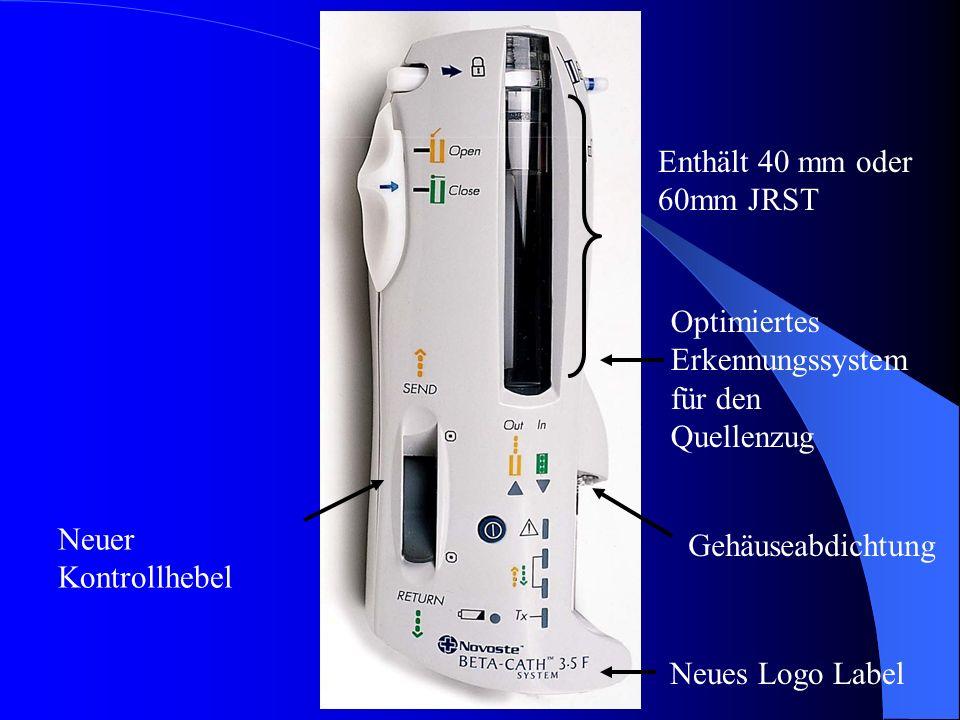 Enthält 40 mm oder 60mm JRST. Optimiertes. Erkennungssystem. für den. Quellenzug. Neuer Kontrollhebel.