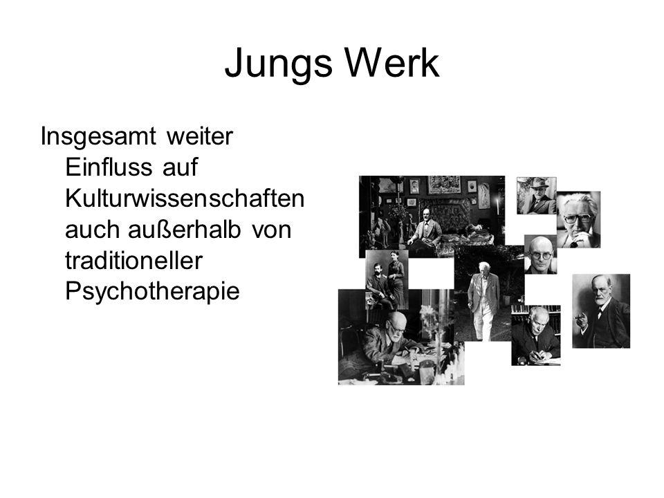 Jungs WerkInsgesamt weiter Einfluss auf Kulturwissenschaften auch außerhalb von traditioneller Psychotherapie.