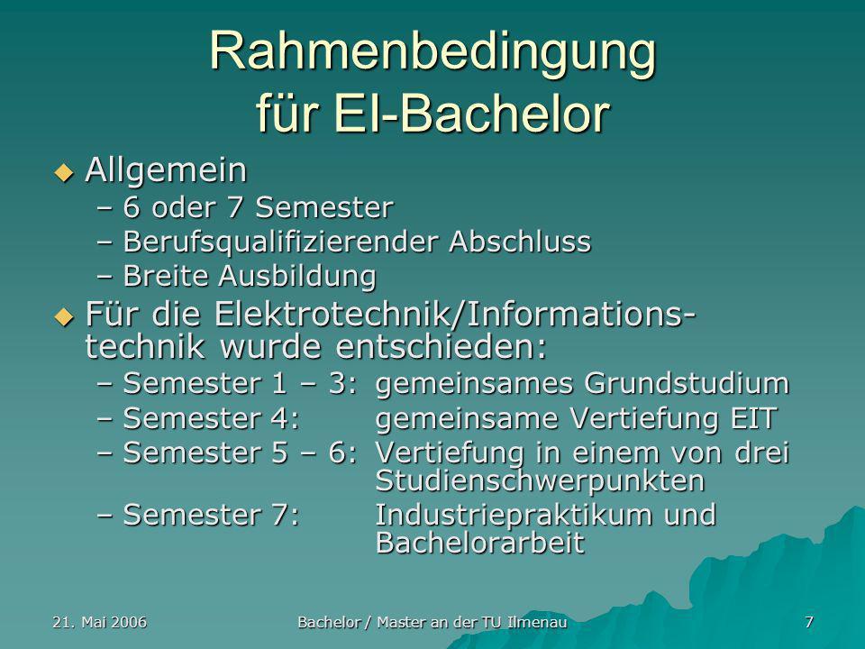 Rahmenbedingung für EI-Bachelor