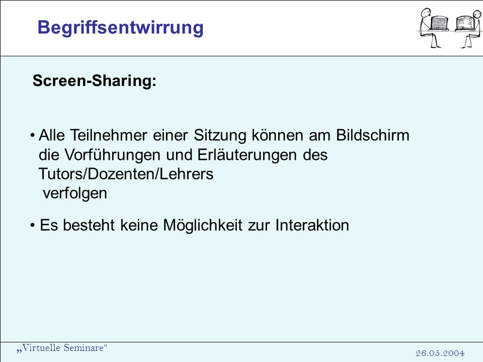 Begriffsentwirrung Screen-Sharing: