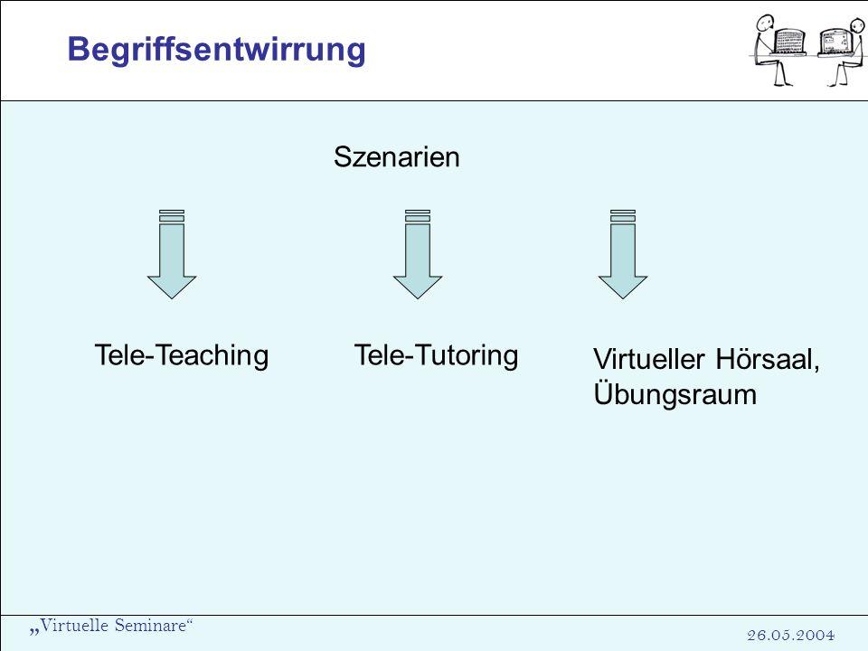 Begriffsentwirrung Szenarien Tele-Teaching Tele-Tutoring