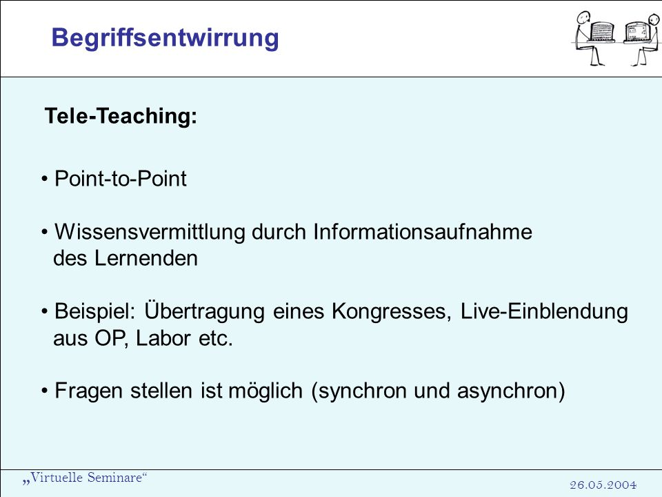 Begriffsentwirrung Tele-Teaching: Point-to-Point