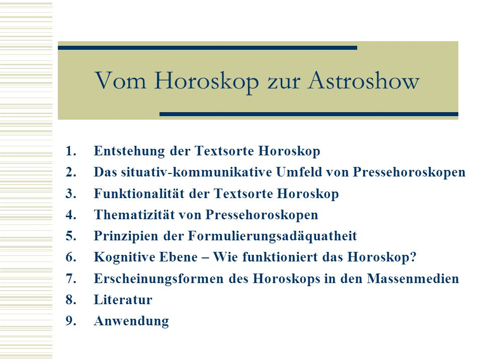 Vom Horoskop zur Astroshow