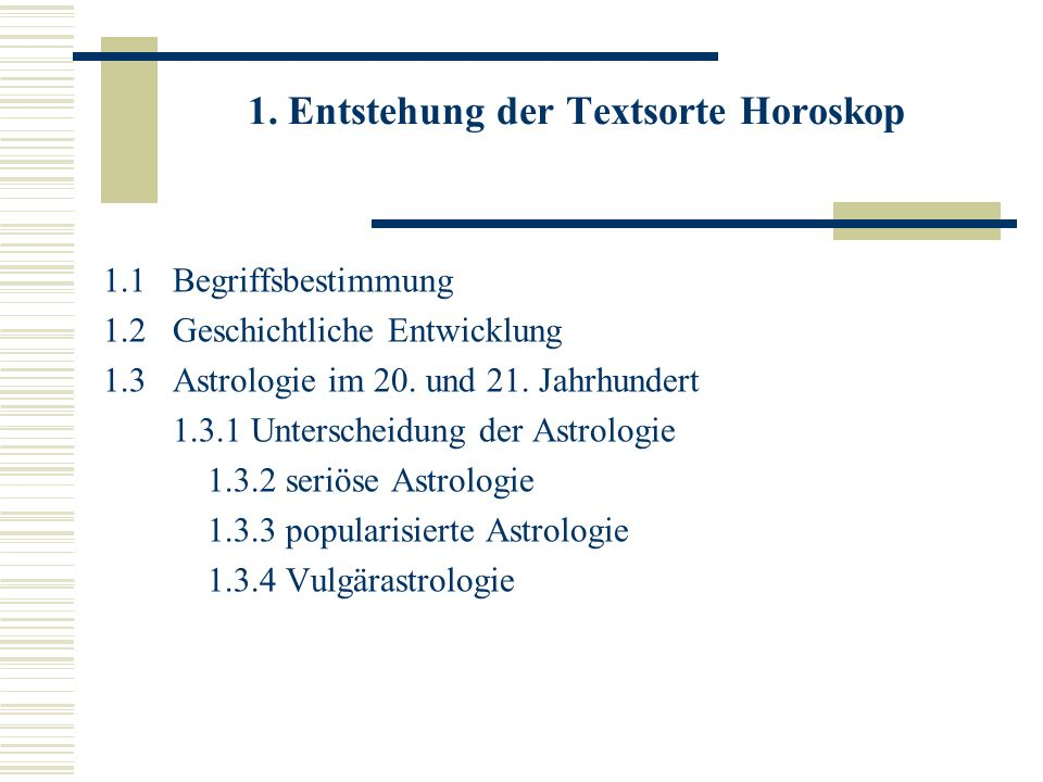 1. Entstehung der Textsorte Horoskop