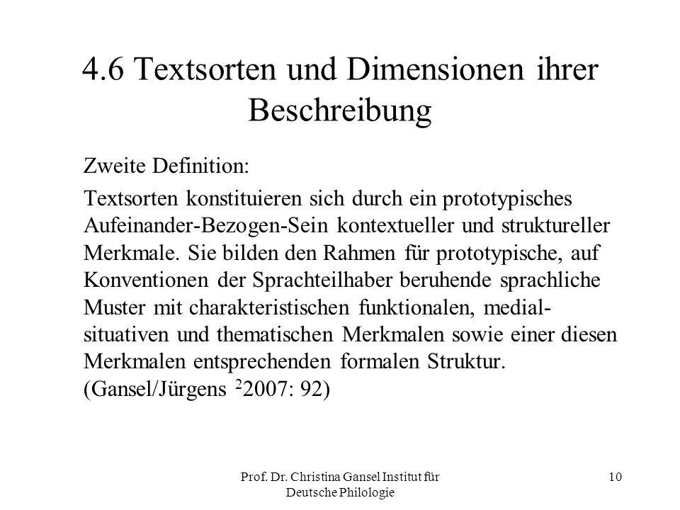 4.6 Textsorten und Dimensionen ihrer Beschreibung