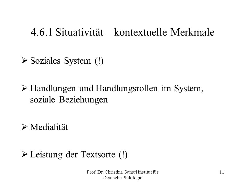 4.6.1 Situativität – kontextuelle Merkmale