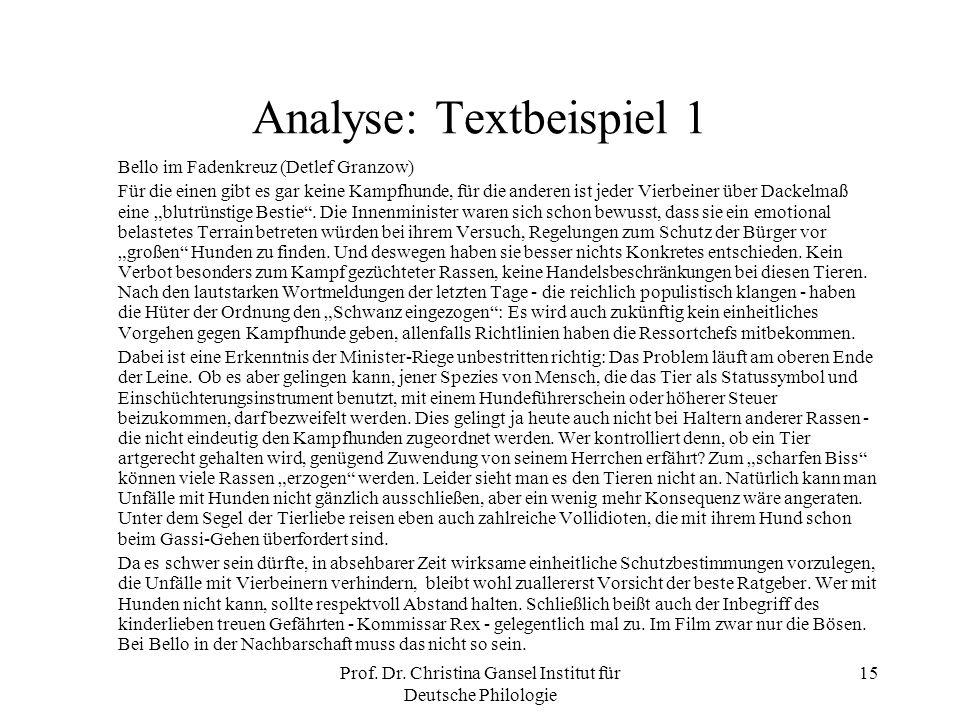 Analyse: Textbeispiel 1