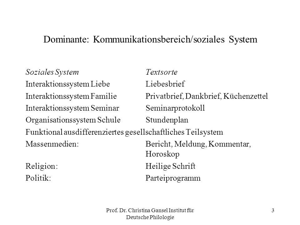 Dominante: Kommunikationsbereich/soziales System
