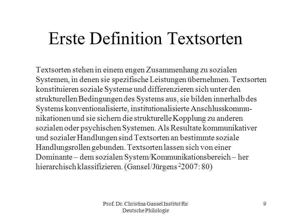 Erste Definition Textsorten