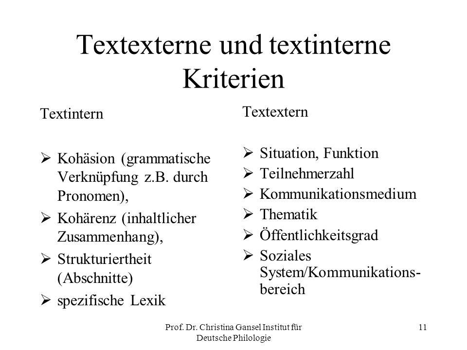 Textexterne und textinterne Kriterien